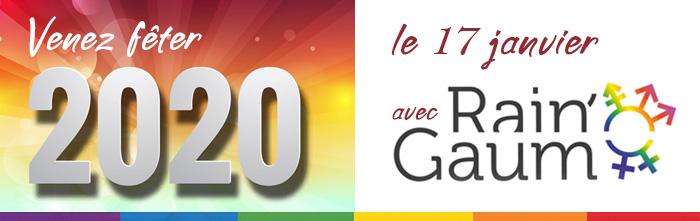 Venez fêter 2020 avec Rain'Gaum, association de lesbiennes, gays, bi et trans lors d'un repas au Kara Karaquillos à Sainte-Marie-sur-Semois.