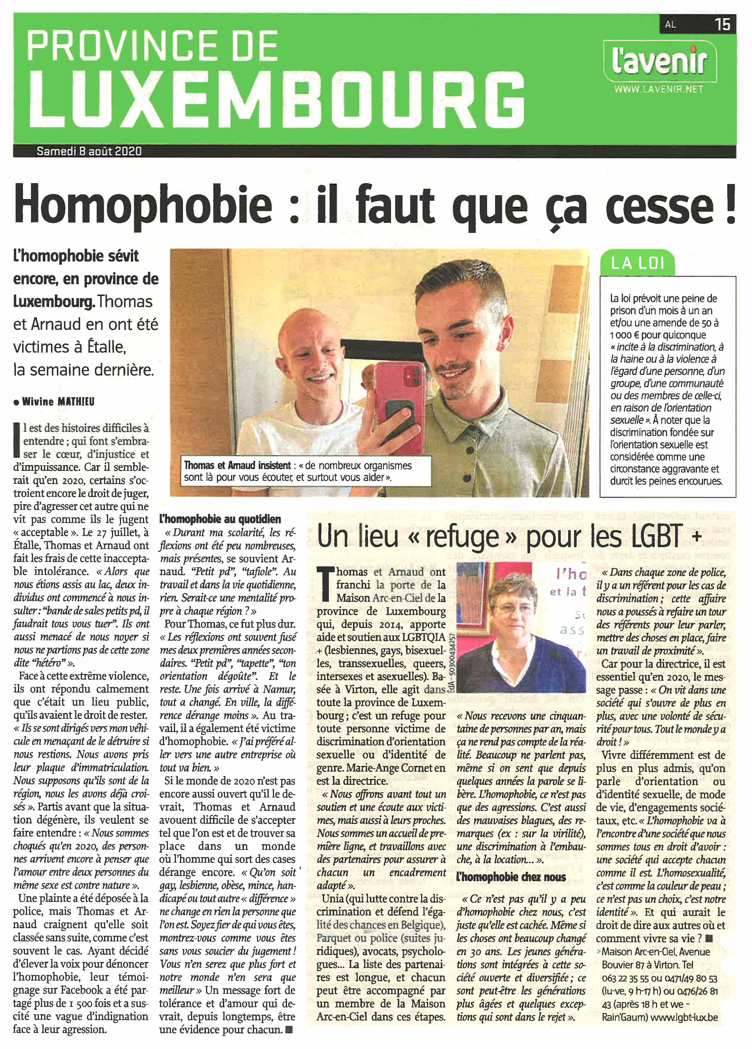 L'homophobie: il faut que ça cesse. Un article de Wivine Mathieu dans l'Avenir Luxembourg du 8 août 2020